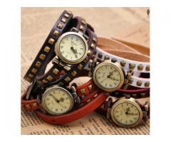 Genuine Leather Ladies Bracelet Wristwatch