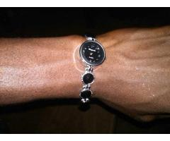 Lady's Fashion Rhinestone Lovely Heart Design Round Dial Bracelet Quartz Watch